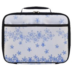 Blue And White Floral Background Full Print Lunch Bag by Jojostore