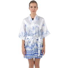Blue And White Floral Background Quarter Sleeve Kimono Robe by Jojostore