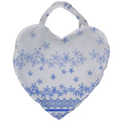 Blue And White Floral Background Giant Heart Shaped Tote