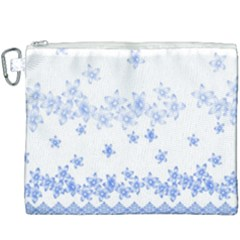 Blue And White Floral Background Canvas Cosmetic Bag (xxxl) by Jojostore
