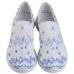 Blue And White Floral Background Women s Lightweight Slip Ons by Jojostore