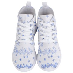 Blue And White Floral Background Women s Lightweight High Top Sneakers