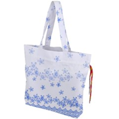 Blue And White Floral Background Drawstring Tote Bag by Jojostore