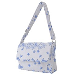 Blue And White Floral Background Full Print Messenger Bag by Jojostore