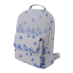 Blue And White Floral Background Flap Pocket Backpack (large) by Jojostore