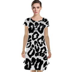 Black And White Leopard Skin Cap Sleeve Nightdress