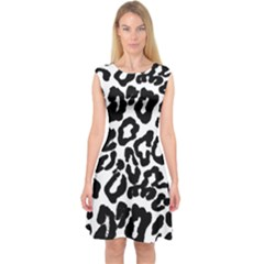 Black And White Leopard Skin Capsleeve Midi Dress