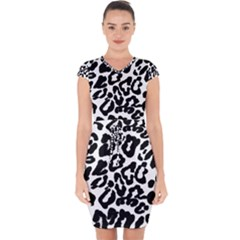 Black And White Leopard Skin Capsleeve Drawstring Dress