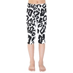 Black And White Leopard Skin Kids  Capri Leggings