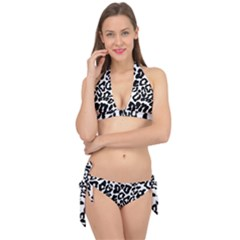 Black And White Leopard Skin Tie It Up Bikini Set