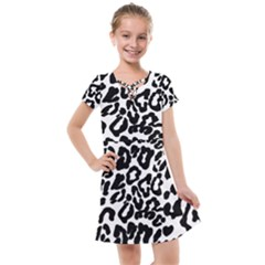 Black And White Leopard Skin Kids  Cross Web Dress