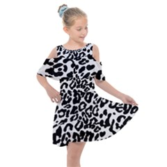 Black And White Leopard Skin Kids  Shoulder Cutout Chiffon Dress