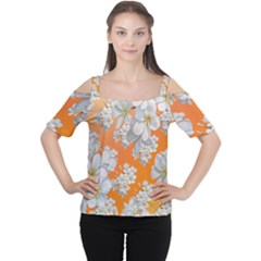 Flowers Background Backdrop Floral Cutout Shoulder Tee