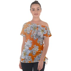 Flowers Background Backdrop Floral Tie Up Tee