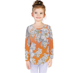Flowers Background Backdrop Floral Kids  Long Sleeve Tee by Jojostore