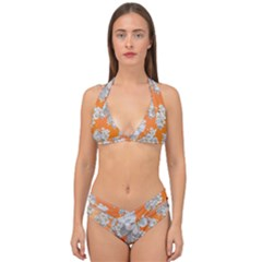 Flowers Background Backdrop Floral Double Strap Halter Bikini Set