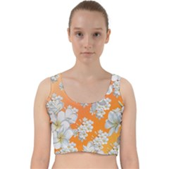 Flowers Background Backdrop Floral Velvet Racer Back Crop Top