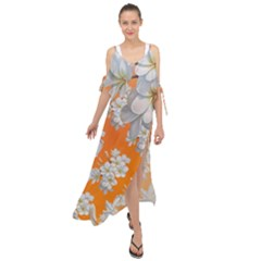 Flowers Background Backdrop Floral Maxi Chiffon Cover Up Dress