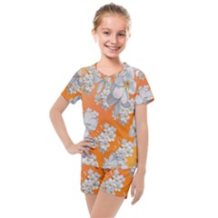 Flowers Background Backdrop Floral Kids  Mesh Tee And Shorts Set