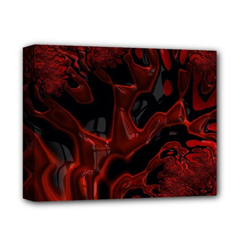 Fractal Red Black Glossy Pattern Decorative Deluxe Canvas 14  X 11  (stretched) by Jojostore