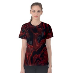 Fractal Red Black Glossy Pattern Decorative Women s Cotton Tee