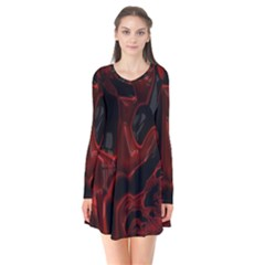 Fractal Red Black Glossy Pattern Decorative Long Sleeve V Neck Flare Dress