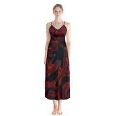 Fractal Red Black Glossy Pattern Decorative Button Up Chiffon Maxi Dress