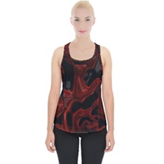 Fractal Red Black Glossy Pattern Decorative Piece Up Tank Top