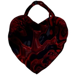 Fractal Red Black Glossy Pattern Decorative Giant Heart Shaped Tote
