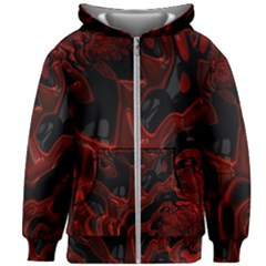 Fractal Red Black Glossy Pattern Decorative Kids Zipper Hoodie Without Drawstring