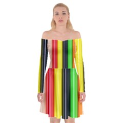 Colorful Striped Background Wallpaper Pattern Off Shoulder Skater Dress