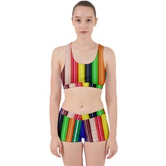 Colorful Striped Background Wallpaper Pattern Work It Out Gym Set by Jojostore