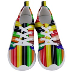 Colorful Striped Background Wallpaper Pattern Women s Lightweight Sports Shoes