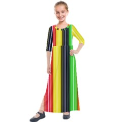 Colorful Striped Background Wallpaper Pattern Kids  Quarter Sleeve Maxi Dress