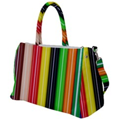 Colorful Striped Background Wallpaper Pattern Duffel Travel Bag