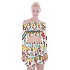 Seamless Pixel Art Pattern Off Shoulder Top With Mini Skirt Set