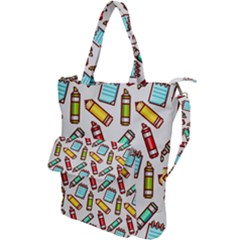 Seamless Pixel Art Pattern Shoulder Tote Bag