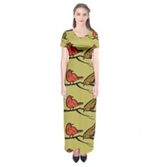 Bird Birds Animal Nature Wild Wildlife Short Sleeve Maxi Dress