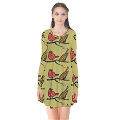 Bird Birds Animal Nature Wild Wildlife Long Sleeve V Neck Flare Dress