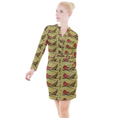 Bird Birds Animal Nature Wild Wildlife Button Long Sleeve Dress