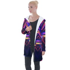 Abstract Desktop Backgrounds Longline Hooded Cardigan