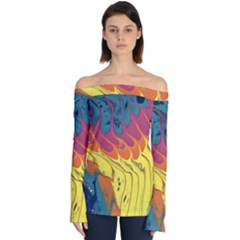 Peacock Feather Off Shoulder Long Sleeve Top