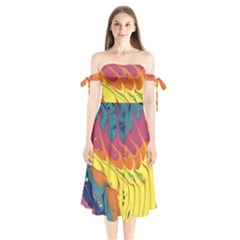 Peacock Feather Shoulder Tie Bardot Midi Dress