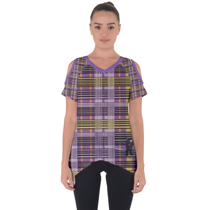 Playing with Plaid Kitten (Purple) Halloween Pattern Cut Out Side Drop Tee