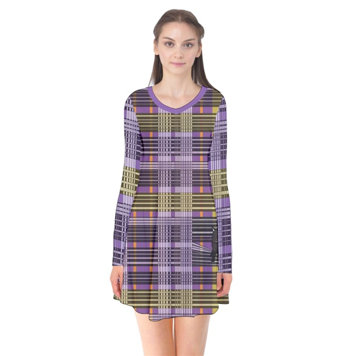 Playing with Plaid Kitten (Purple) Halloween Pattern Long Sleeve V-neck Flare Dress