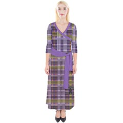 Playing With Plaid Kitten (purple) Halloween Pattern Quarter Sleeve Wrap Maxi Dress