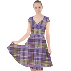 Playing With Plaid Kitten (purple) Halloween Pattern Cap Sleeve Front Wrap Midi Dress