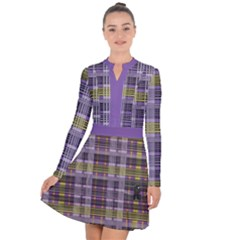 Playing With Plaid Kitten (purple) Halloween Pattern Long Sleeve Panel Dress