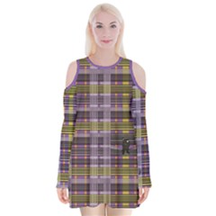 Playing With Plaid Kitten (purple) Halloween Pattern Velvet Long Sleeve Shoulder Cutout Dress