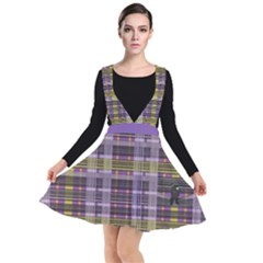 Playing With Plaid Kitten (purple) Halloween Pattern Plunge Pinafore Dress
